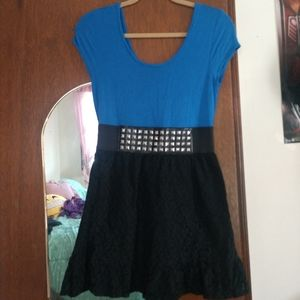 Blue & Black Lace Stud Dress